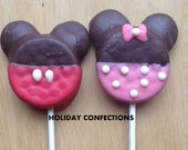 Double Stuff Oreo Cookies Minnie or Mickey Mouse inspired oreos - chocolate covered oreo cookies - party favors