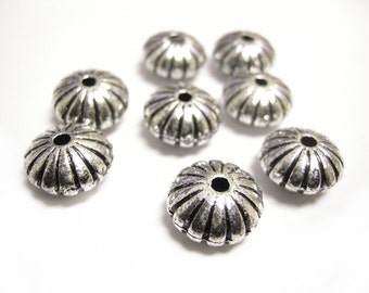 24pc 14x8mm antique silver finish rondelle acrylic beads-8337