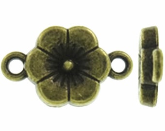 20pc 17x10mm antique bronze finish flower shape connectors-9501