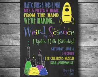 Science Birthday Party Invitation, Weird Science Birthday Invite, Printable Text or Email Science Invite