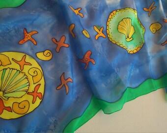 Seashell Silk Scarf Hand Painted. Camino Silk Art Scarf Royal Blue, Emerald, Yellow. 14 x 51 inch Blue Designer Scarf.Mandala Scarf on  ETSY
