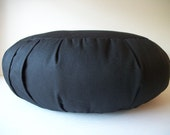 "Meditation Cushion. Zafu. UNFILLED Cover. Black PolyCotton Diversitex Twill. 5"" L. Sidewall Zipper. Ready to fill. Handmade in the USA"