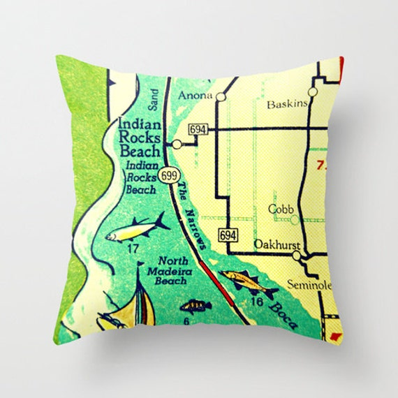 Indian Rocks Beach Pillow Cover 18x18 Map Throw Pillow