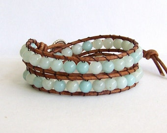 Leather Wrap Bracelet with Aqua Amazonite Beads on Brown Leather