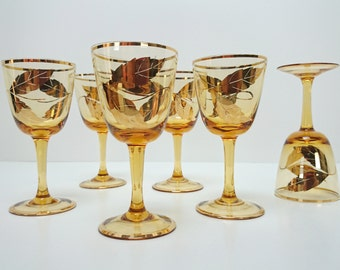 Antique Bohemian Stemware Amber with Gold Leaf Pattern and Trim Cordial Aperitif Sherry Glasses set of 6, Trending Vintage