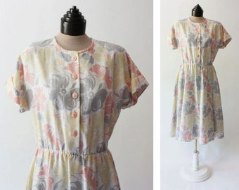 80's Pastel Floral Full Skirt Dress