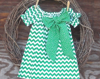 Girls Green Chevron Dress,  Girls Peasant Dress, Girls Easter Dress, Kids Easter dress, Girls Spring Dress