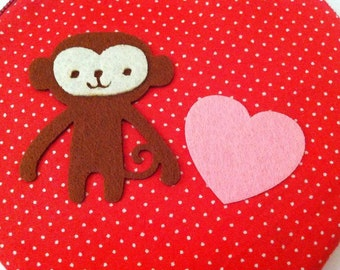 Monkey in love pink heart Zipper Pouch / Purse