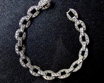 Elegant Bracelet. Marquesites and Sterling Silver Bracelet. Ethnic Gemstone Jewelry