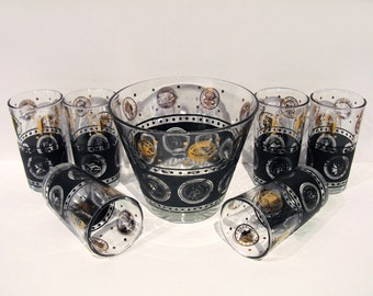 Vintage BARWARE / MOD Coin Pattern Cocktail Glasses w/ Ice Bucket / Set of 6 / Retro Tumblers / 1960s