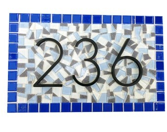 Home Address Sign, Blue and Gray Mosaic House Number Plaque