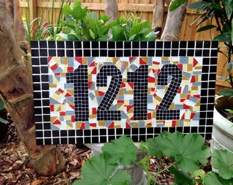 Address Sign // Personalized Mosaic // House Number Plaque // Colorful Garden Decor
