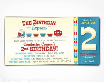 Train Invitation - Printable PDF File - Invite for Boy Birthday Party - Transportation Theme Choo Choo I'm 2 Train Ticket - Blue Red Yellow