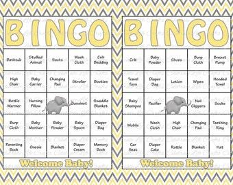 30 Baby Shower Bingo Cards - Printable Gender Neutral - Instant Download - Yellow Gray Elephant  Baby Shower Bingo Boy Girl - N005