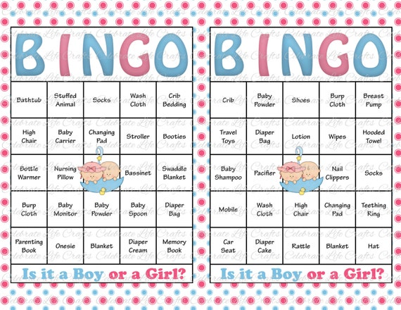 60 Baby Shower Bingo Cards Printable Party Gender Reveal Instant