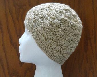 Crochet Beanie Hat Tan Beige WAVY SHELLS 22 Colors Cap Cloche