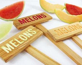 MELONS Garden Sign, Painted & Oil Sealed Cedar Wood, Plant Markers, Garden Markers