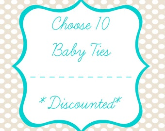 Set of TEN Iron on Baby Tie Appliques, Iron on Baby Ties, Baby Shower Craft, DIY Onesie Station