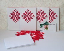 Handmade star poinsettia greeting cards set of 4 embroidered cross stitch xmas christmas Approx: 4.1 x 5.8 inch/10.5 x 14.8 cm FREE SHIPPING