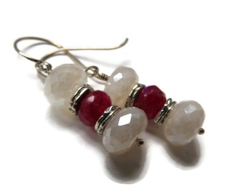 Raspberry Tourmaline and Mystic Pearl Chalcedony Artisan Sterling Silver Earrings ... Delicious Eye Candy