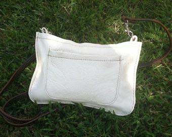 Women mini messenger ivory brown leather crossbody essential messenger fashion casual everyday bag handmade