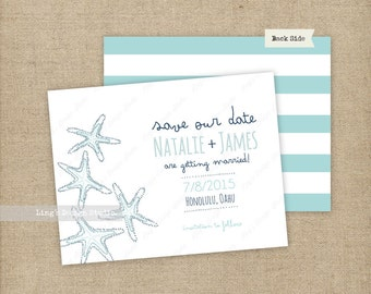 Starfish Save the Date/ Beach Wedding Save the Date |  Printable or Printed