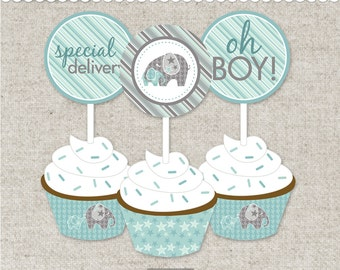 """Instant PDF Download - Printable Cupcake Kit -""""Baby of Mine"""" Baby Boy Collection"""