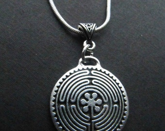 Large Celtic/Irish Labyrinth Silver Necklace