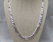 """VINTAGE/ESTATE - Sterling silver .925 men's solid heavyweight figaro chain with lobster clasp (24"""" long, 8 mm wide, 57 grams)"""