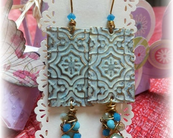 Embossed Metal and Patina earrings