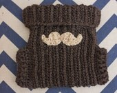 Crochet Wool Soaker - Cloth Diaper Wool Soaker with Mustache Applique