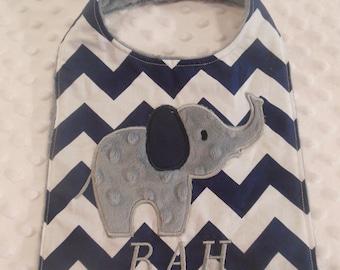 Navy Chevron Elephant Bib/elephant/elephant bib/navy chevron bib/boys bib/newborn bib/navy and grey bib/zoo animals/zoo bib/birthday bib