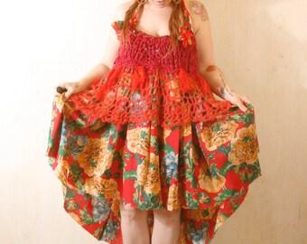Red dress Maxi dress Woman dress Halter dress Bohemian dress Gypsy dress Long dress Woman sundress Floral dress Empire dress Loose dress
