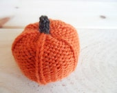 Orange Hand Knit Pumpkin, Eco Friendly Fall Decoration, Rustic Autumn and Thanksgiving Decor, Centerpiece, Play Food, Fall Nature Table