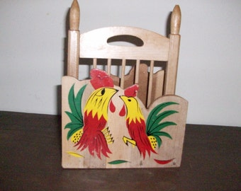 Vintage Roosters Napkin Holder