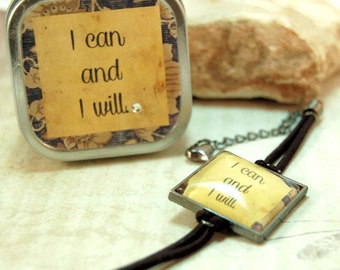 Affirmation or Positive Sayings Quotes Bracelet in matching Gift Tin I can and I will for Dieters Friends Moms Teens