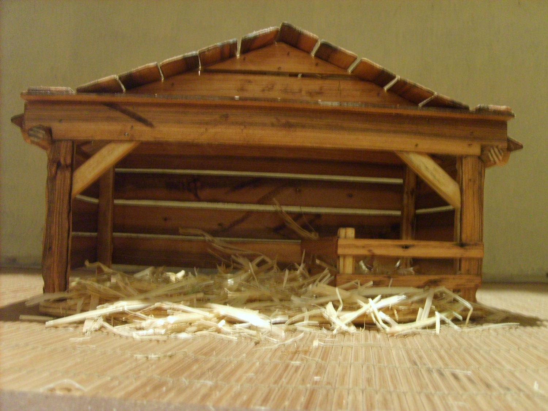 Wooden Creche Nativity Stable by TheMomandPopWoodshop on Etsy