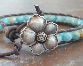 Leather Wrap Crystal Bracelet, Aqua Sparkle, Summer Jewelry, single leather wrap,  beaded bracelets