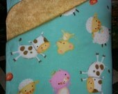 Gender neutral farm baby blanket. Reversible flannel, extra large size. Ready to go.