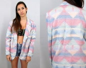Vintage BILL BLASS Jacket Small Southwest Jacket Tribal Jacket Boho Jacket Hippie Jacket Southwest Pastel Jacket 90's Jacket Native American