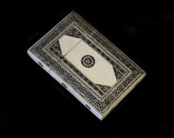 MoonsCuriousItems-Antique Inlaid Anglo Indian Card Case 2- ,Ebony, Pewter, Bone - Geometric Patterns, Intricately Made