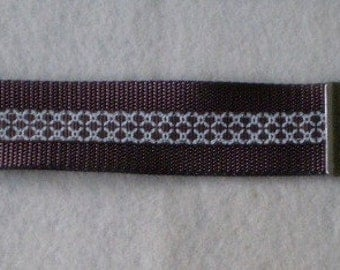 Brown and White Crosshatch Keychain Wristlet