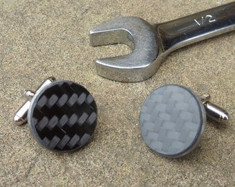 Real carbon fiber & titanium cufflinks - Carbon fibre Formula 1 inspired design black silver color