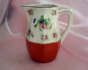 Vintage Shabby Pitcher Creamer Vase Cottage Chic Pink Rose