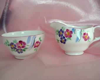 Vintage Creamer and Sugar Bowl Melba Bone China England Shabby Cottage Chic Floral
