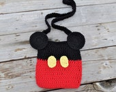 Mickey Minnie Mouse Disney inspired Crochet Bag Purse with straps 100% Cotton material and felt