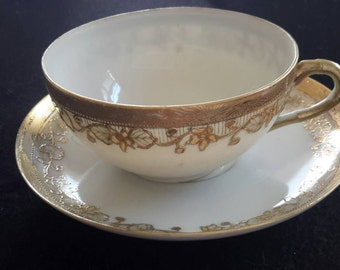 Nippon Handpainted Teacup and Saucer