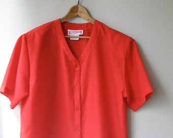 Baseball Style Button Up  Short Sleeve Red Blouse Boxy Fit