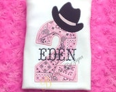 Appliqued Girls Cowgirl Shirt, Cowboy Birthday Number T-Shirt or Bodysuit, Western Shirt, Pink Bandana Shirt