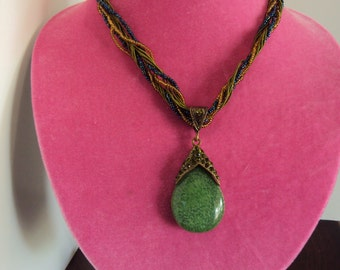 Pretty Necklace With Green Resin Tear Drop Pendant